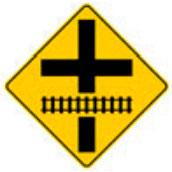 Señal Preventiva SP-35A Intersección Vial Próxima a Cruce con Vía Férrea
