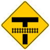 Señal Preventiva SP-35C Intersección Vial en T Secundaria Próxima a Cruce con Vía Férrea