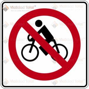 Señal Restrictiva SR-30 Prohibida la Circulación de Bicicletas
