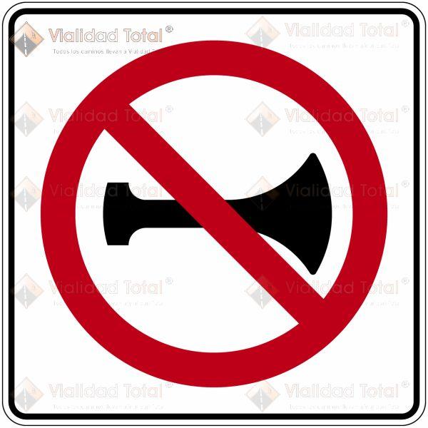 Señal Restrictiva SR-33 Prohibido el Uso de Señales Acústicas