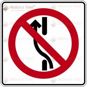 Señal Restrictiva SR-35 Prohibido Cambiar a los Carriles de la Izquierda en el Mismo Sentido de Circulación